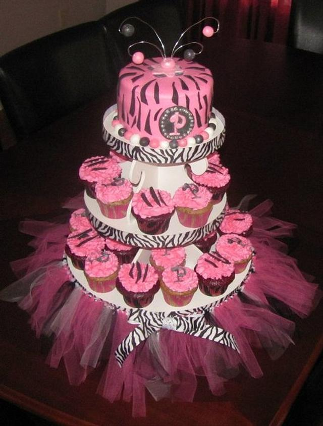 Zebra Print Cupcake Tower