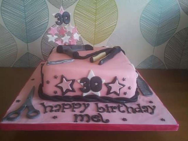 Girlie hairstyling 30th cake