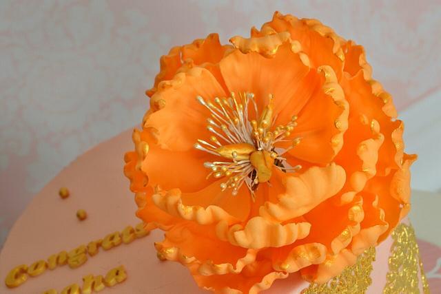 Peony gold lace cake
