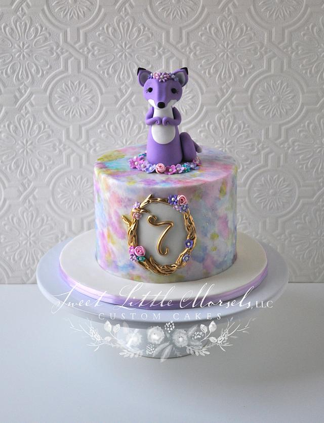 Admirable Purple Fox Birthday Cake Cake By Stephanie Cakesdecor Birthday Cards Printable Opercafe Filternl