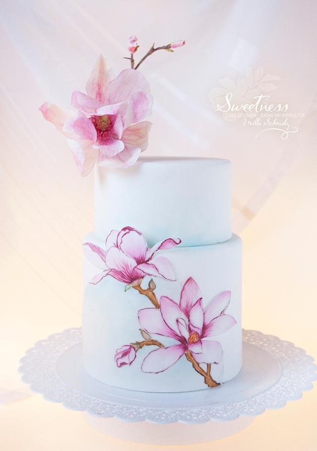 Magnolia Hand painted Cake