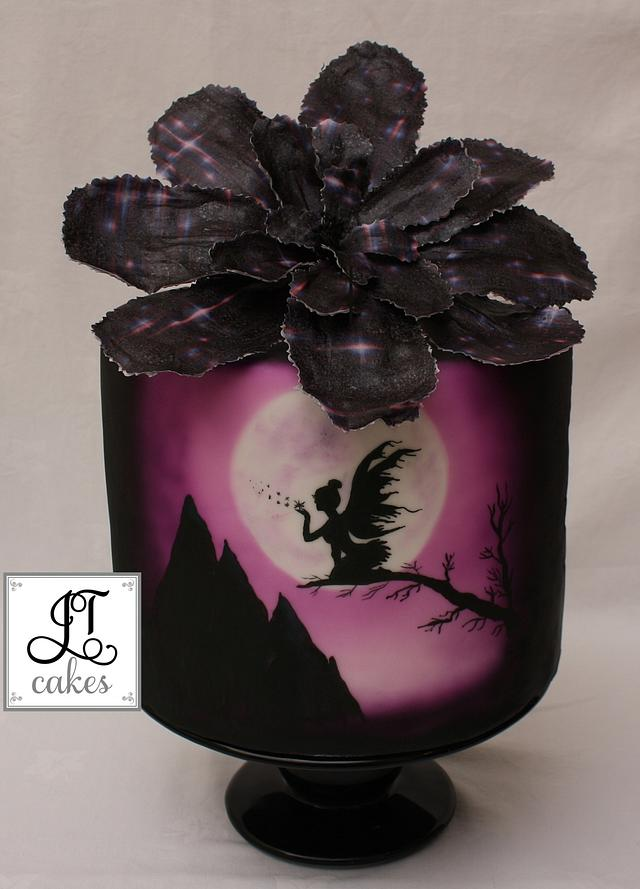 Fairy hand painted cake