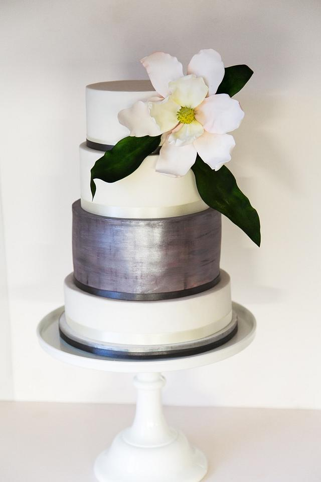 Dark silver simple statement wedding cake