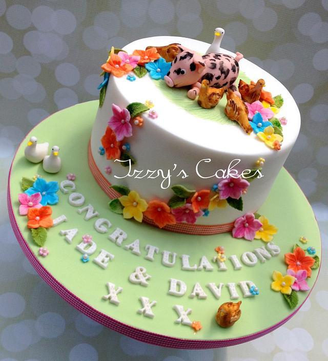 Animal themed engagement cake