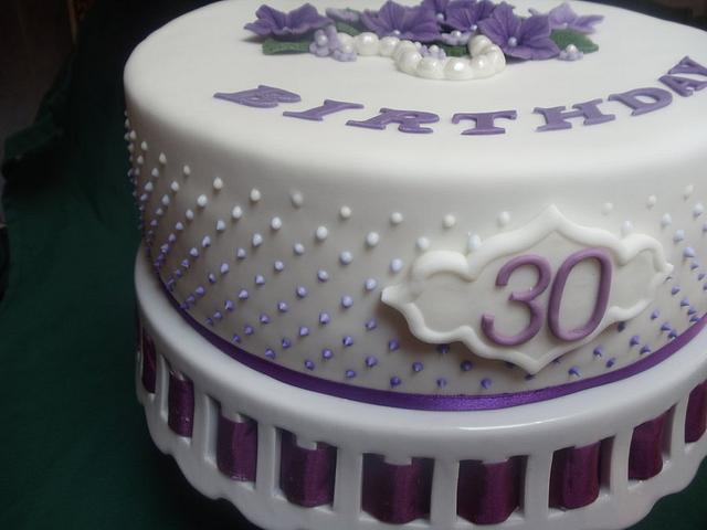 purple dots 30th birthday cake