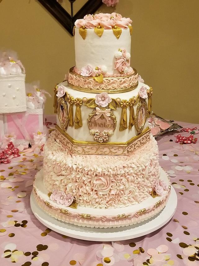"""Heaven Sent"" baby shower cake"