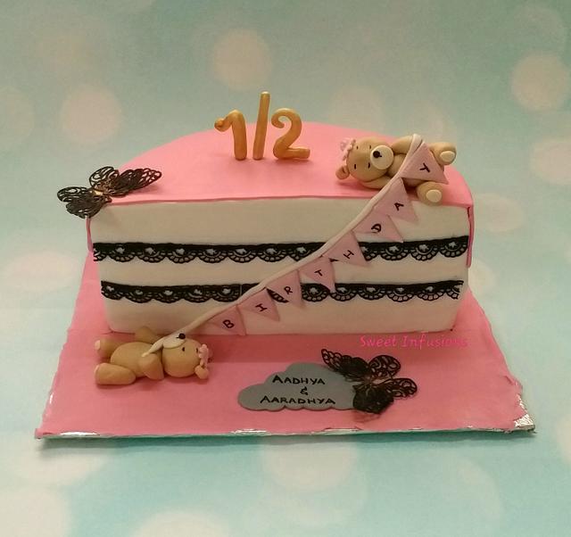 Peachy Half Birthday Cake Cake By Bansrijoshi Cakesdecor Personalised Birthday Cards Veneteletsinfo
