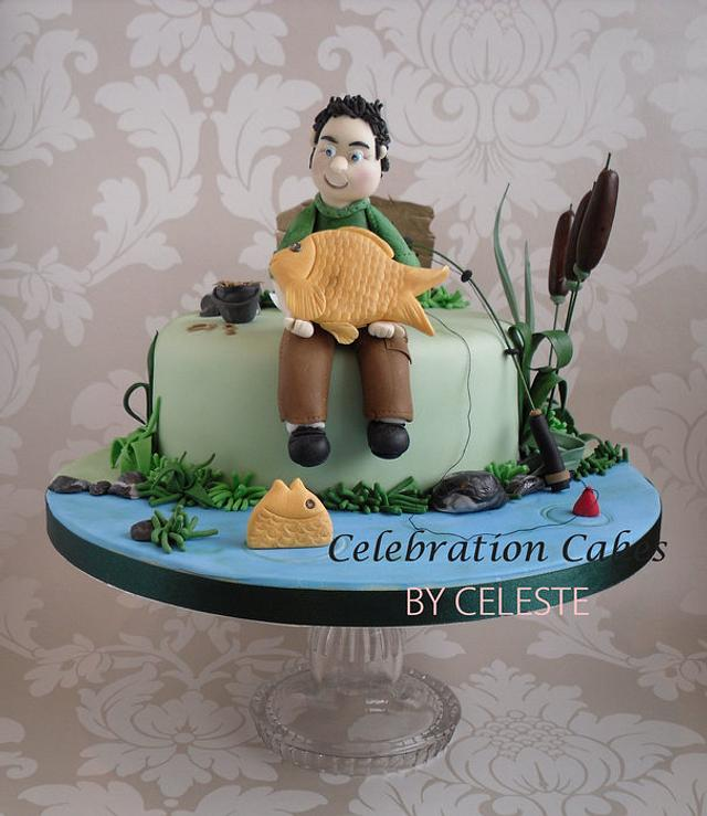 Awesome Carp Fishing Theme Birthday Cake Cake By Celebration Cakesdecor Funny Birthday Cards Online Alyptdamsfinfo