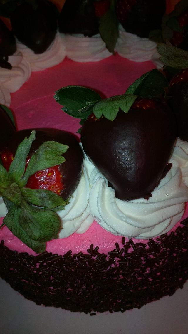 strawberry-chocolate cream cheese cake