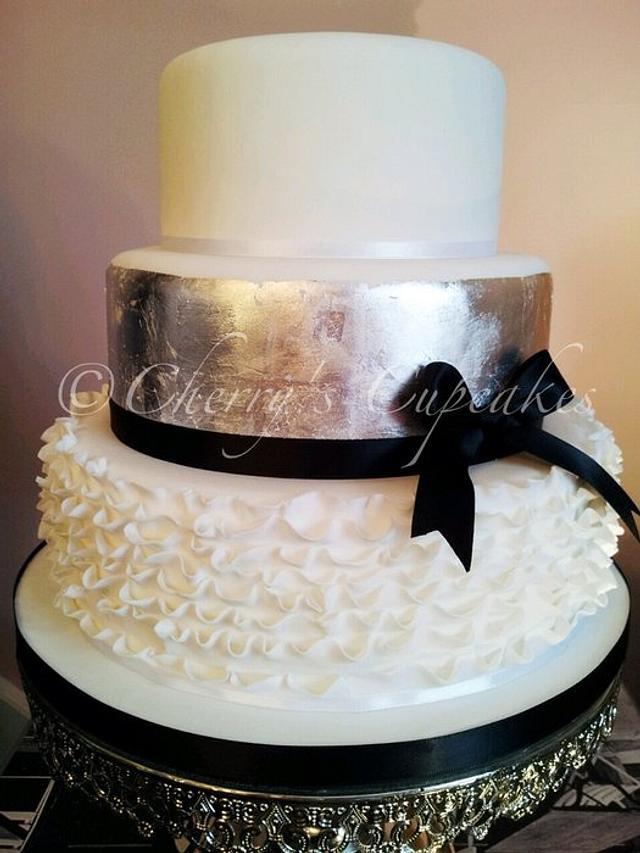 Silver Ruffle Wedding Cake