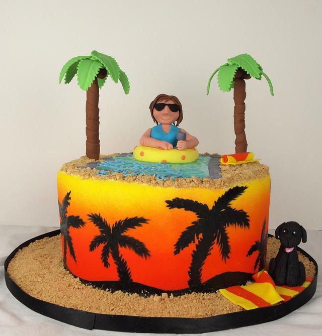 Awe Inspiring Arizona Palm Trees Birthday Cake Cake By Cakes By Cakesdecor Birthday Cards Printable Trancafe Filternl