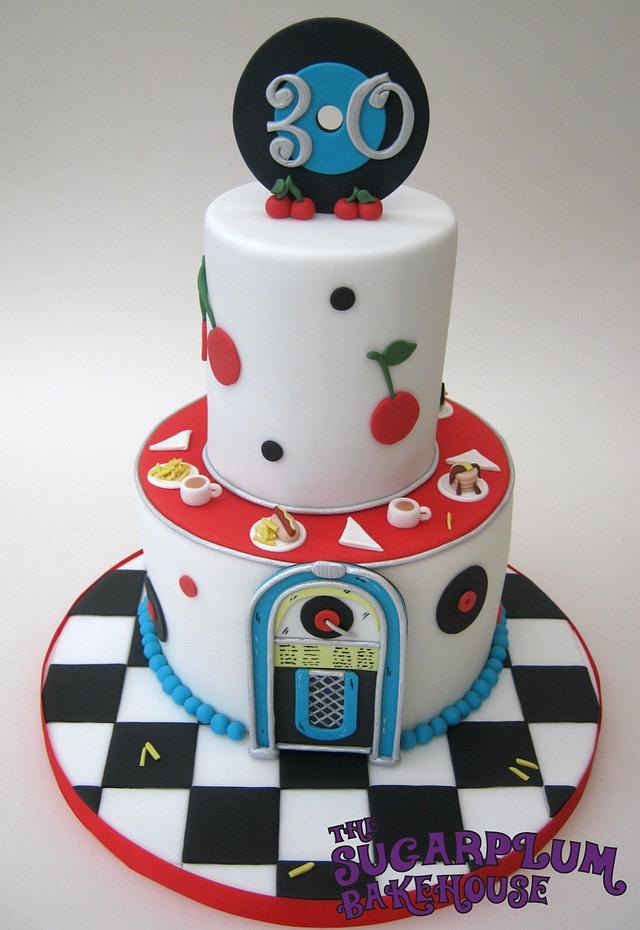 Retro Diner Themed 30th Birthday Cake!