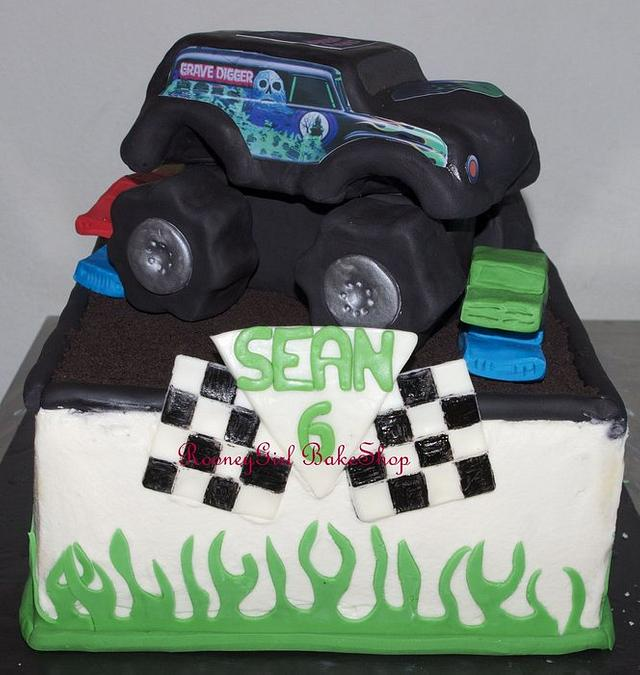 Excellent Grave Digger Monster Truck Birthday Cake Cake By Maria Cakesdecor Funny Birthday Cards Online Elaedamsfinfo