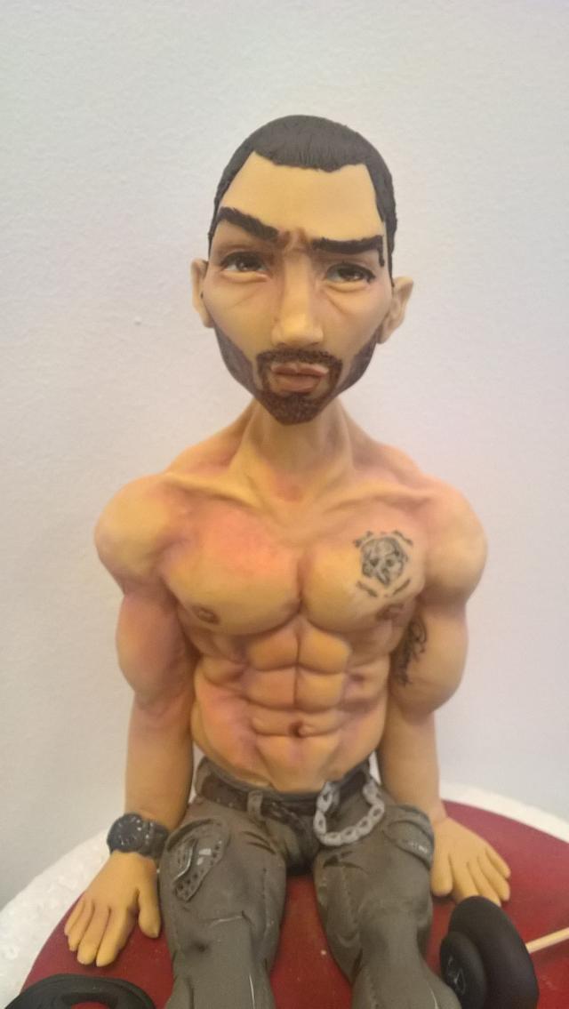 Sugar figure of bodybuilder