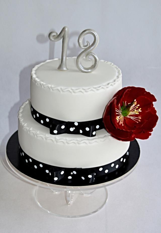 Marvelous Black White Cake For 18Th Birthday Cake By Lenka Cakesdecor Funny Birthday Cards Online Elaedamsfinfo