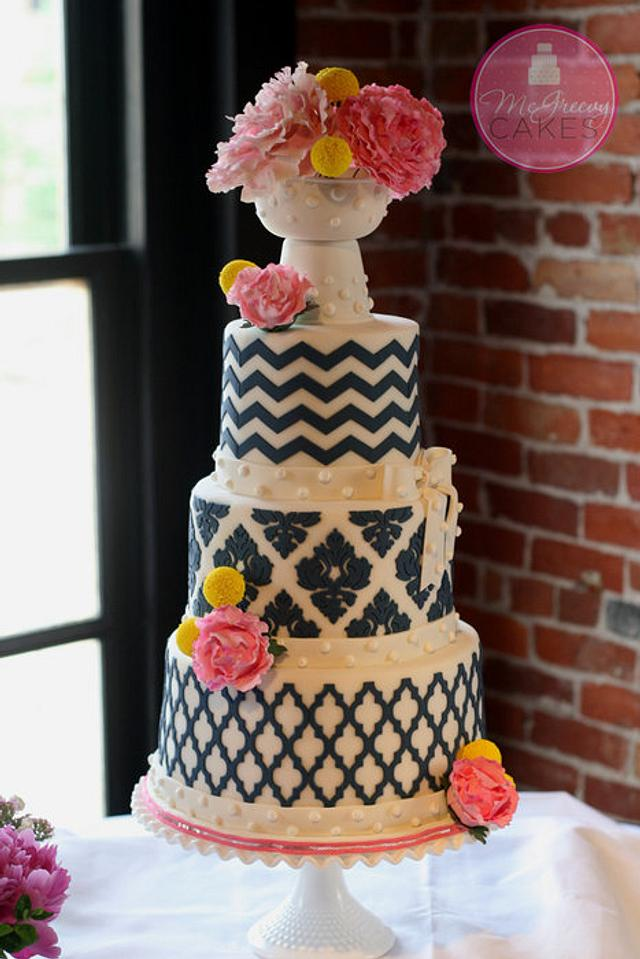 Pink Peonys and Navy Patterns (Marvelous  Molds Onlays) Wedding