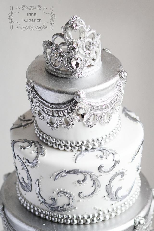 Silver Crown  wedding Cake