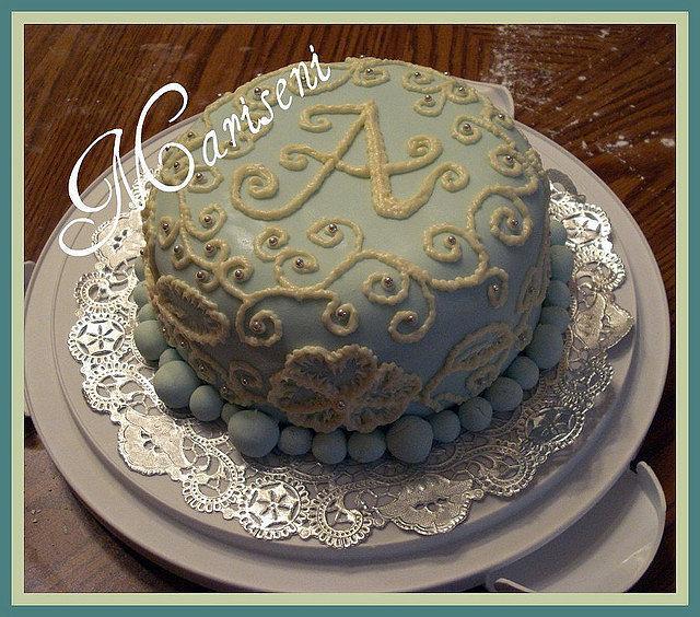 Strange Monogram Brush Embroidery Birthday Cake Cake By Slice Cakesdecor Funny Birthday Cards Online Alyptdamsfinfo