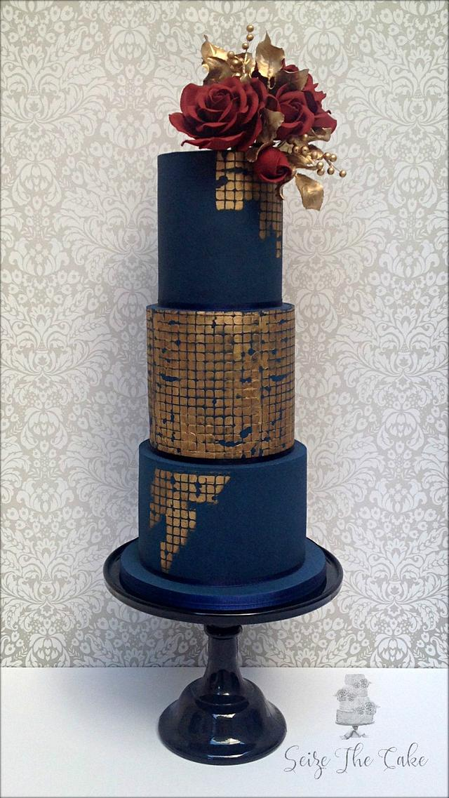 Navy blue and red roses wedding cake