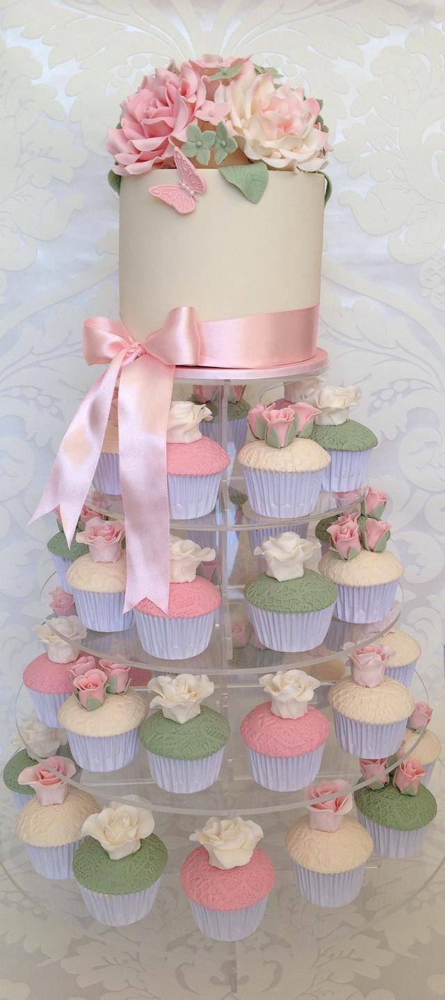 Vintage Cupcake Tower