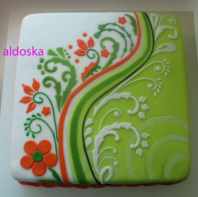 Green / orange / white