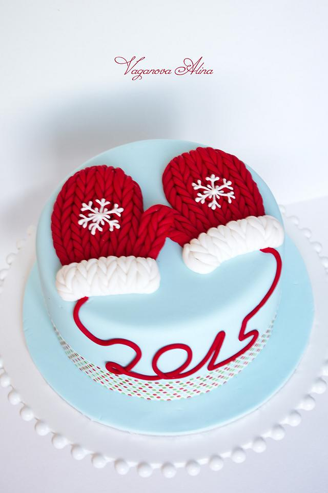 Christmas cake with mittens