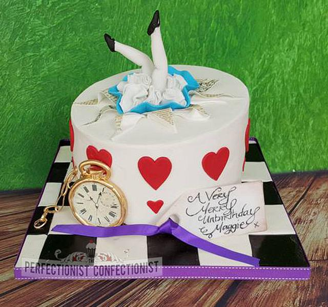 Cool Maggie Alice In Wonderland Birthday Cake Cake By Cakesdecor Personalised Birthday Cards Cominlily Jamesorg