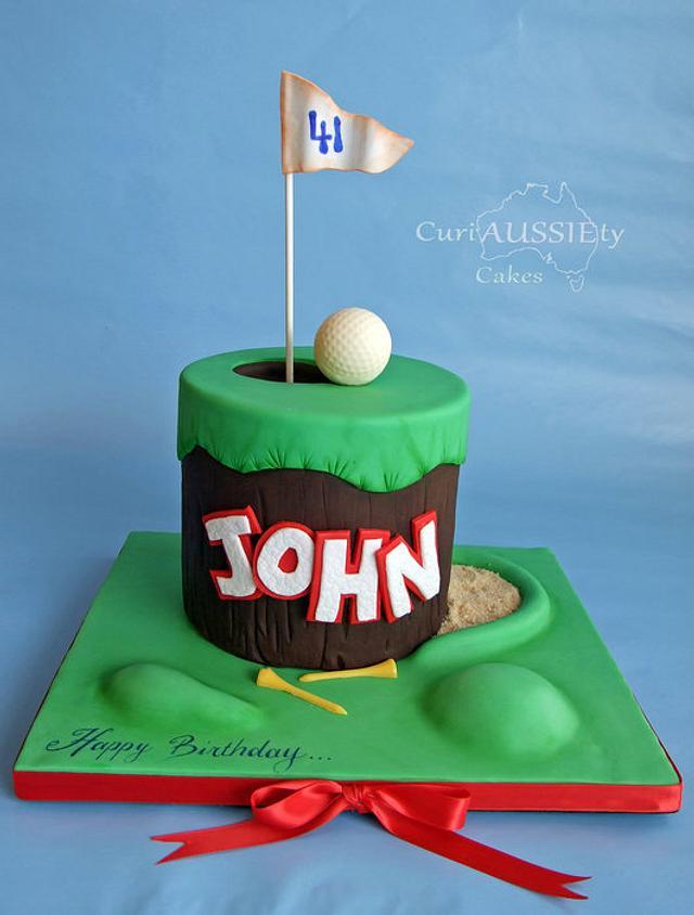 Fantastic Golf Theme Birthday Cake Cake By Curiaussiety Cakes Cakesdecor Personalised Birthday Cards Arneslily Jamesorg