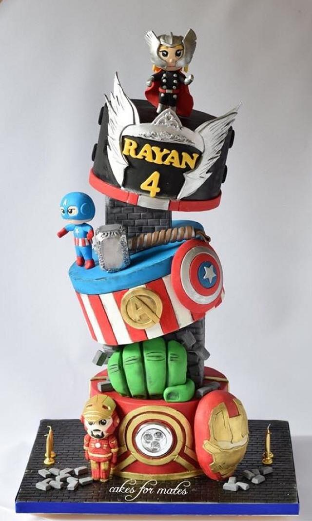 Gravity defying Avengers theme cake