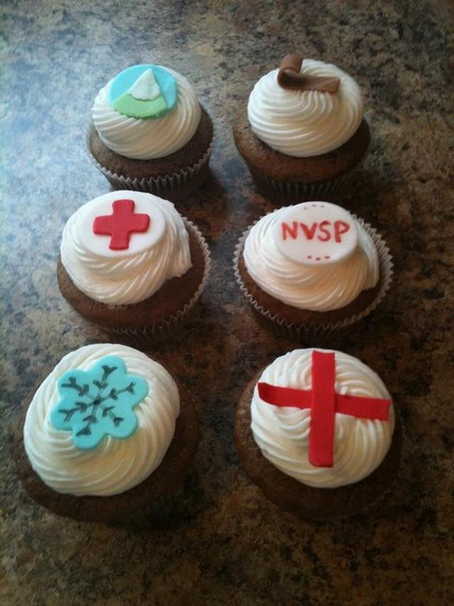 ski patrol cupcakes
