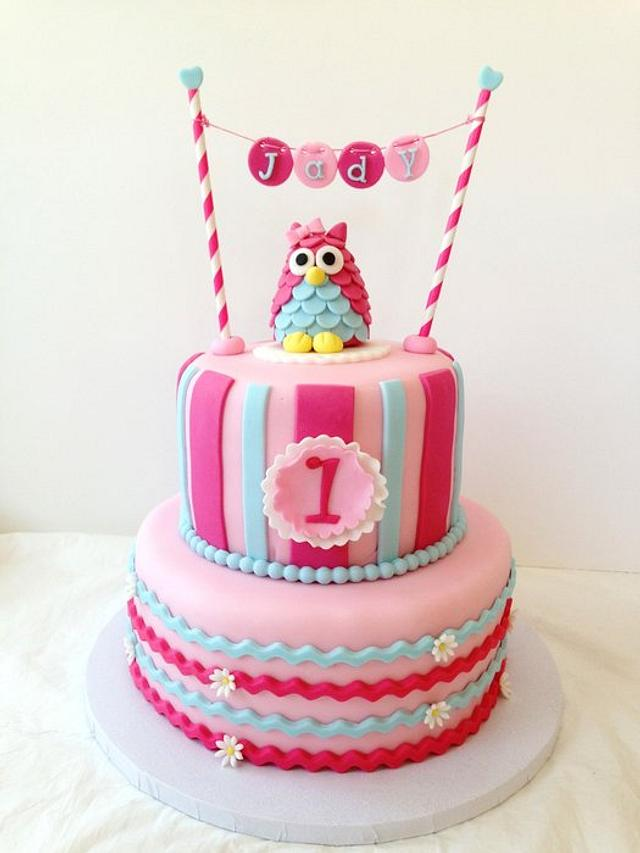 Groovy Owl 1St Birthday Cake By Funni Cakesdecor Birthday Cards Printable Riciscafe Filternl