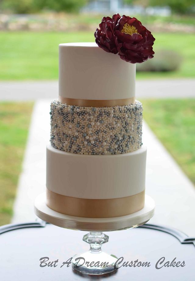 Wine Peony Wedding Cake