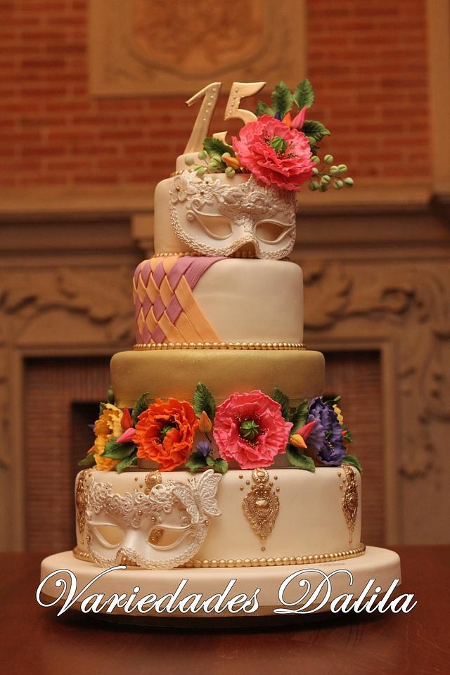 15 Years old Venetian Mask Birthday Cake