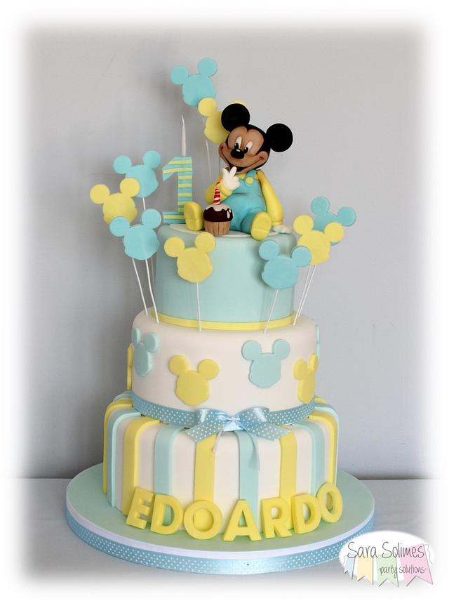 Fabulous Baby Mickey 1St Birthday Cake Cake By Sara Solimes Cakesdecor Funny Birthday Cards Online Alyptdamsfinfo