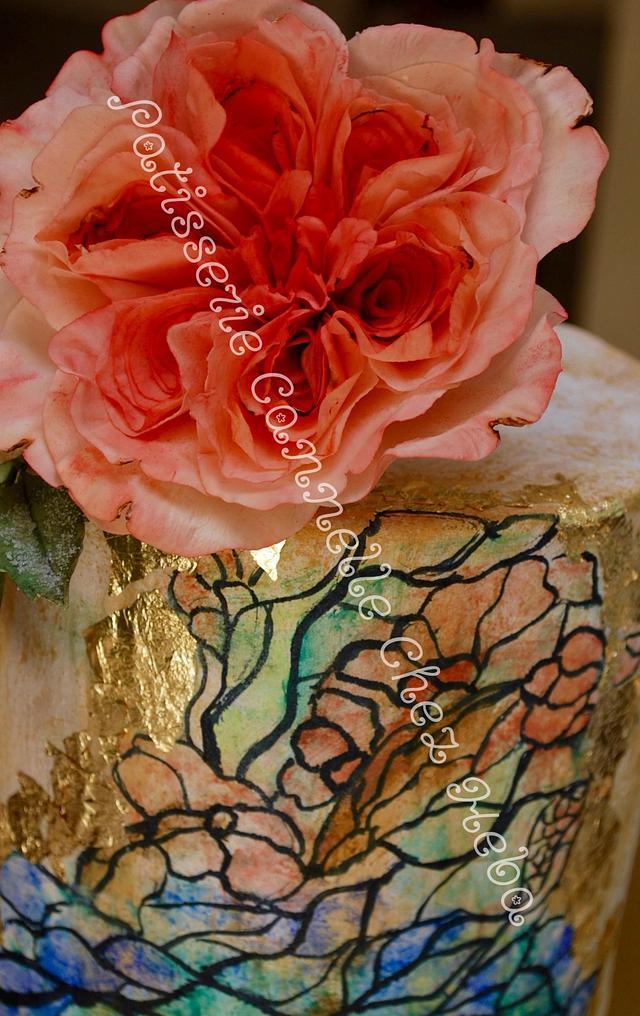 David Austin stain glass cake