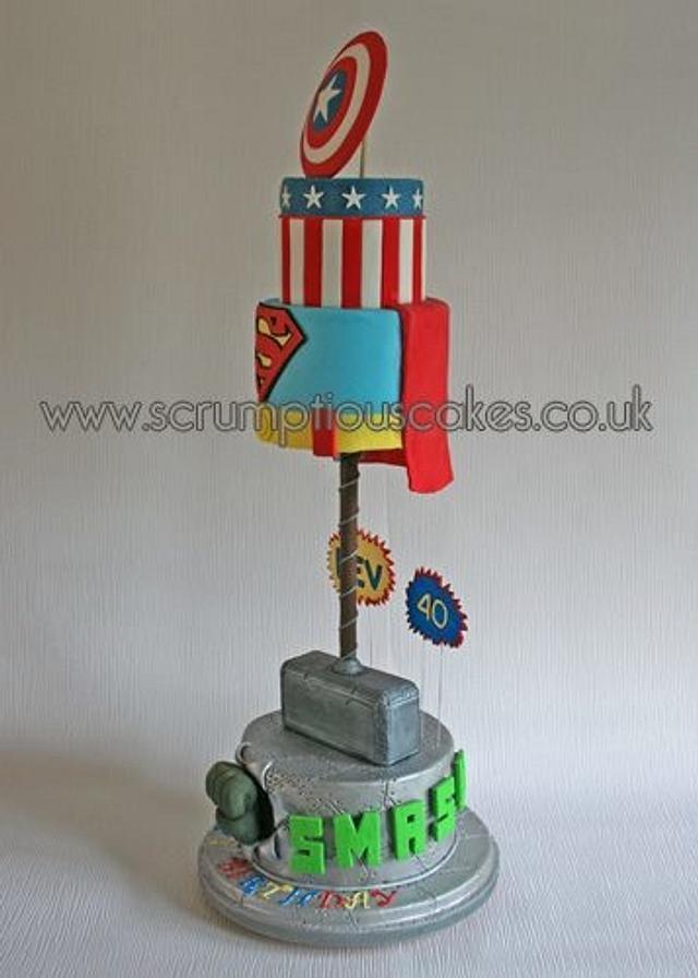 Super Hero 40th Birthday Cake