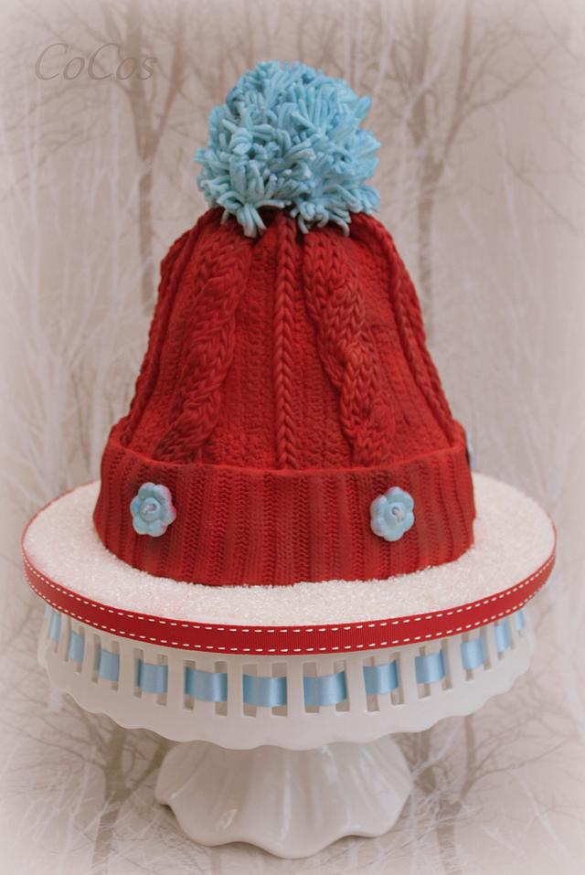 winter wooly knitted hat cake