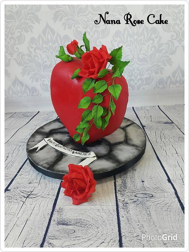 Red Heart with Rose