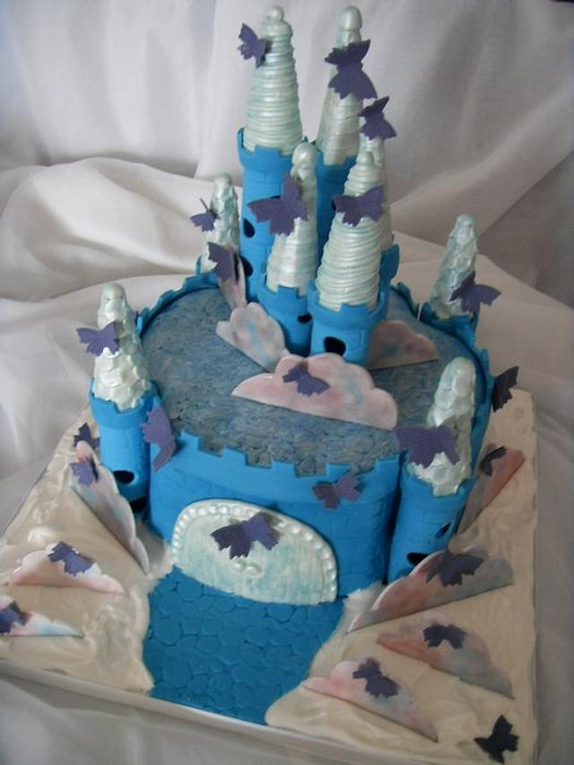 Blue & Silver Butterfly Castle in the Clouds Birthday Cake