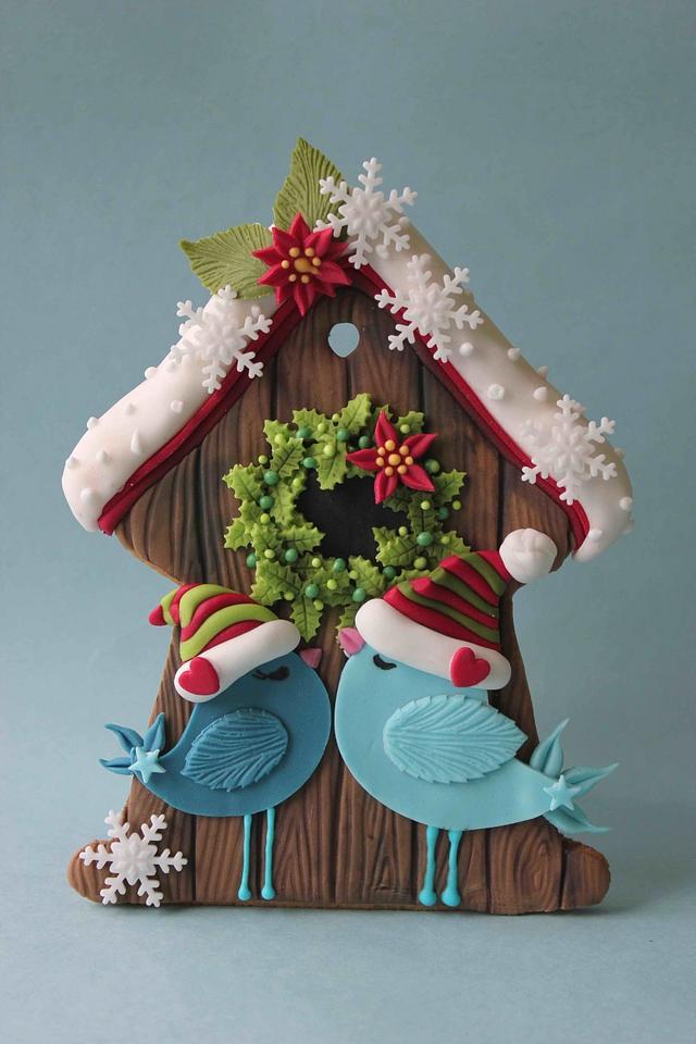Birds in love christmas cookie