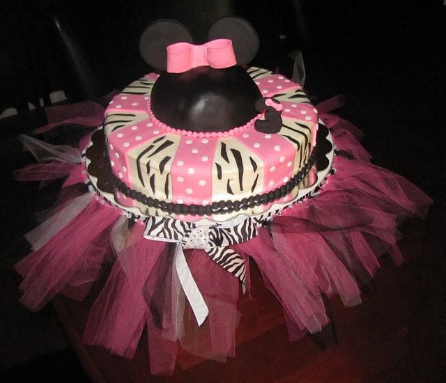 Minnie Mouse/Zebra Print Cake