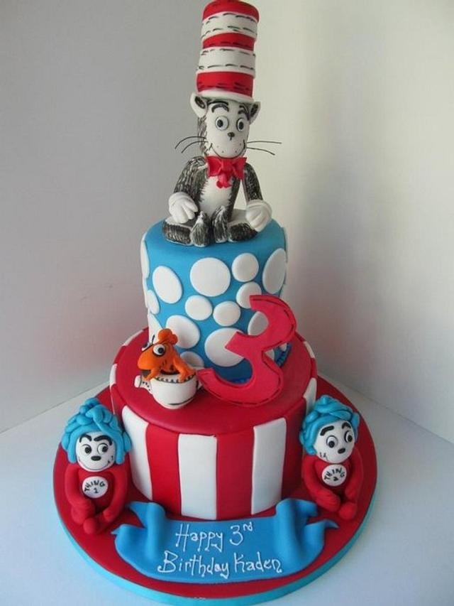 Phenomenal Happy Birthday Dr Seuss Cat In The Hat 3Rd Birthday Cakesdecor Funny Birthday Cards Online Elaedamsfinfo