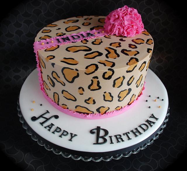 Animal print pom pom cake