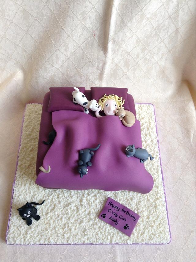 Groovy Crazy Cat Lady Cake By Tiggylous Cakes Cakesdecor Funny Birthday Cards Online Elaedamsfinfo