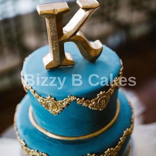 Slate Blue Wedding cake