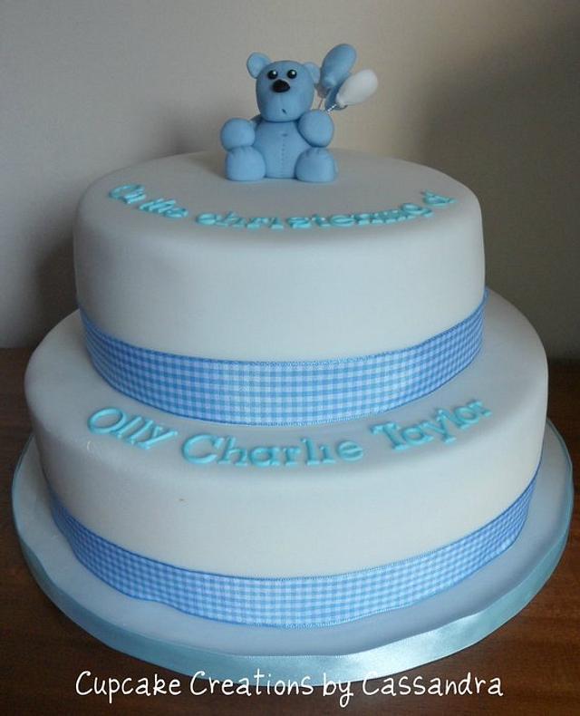 Boys 2 tier Christening Cake