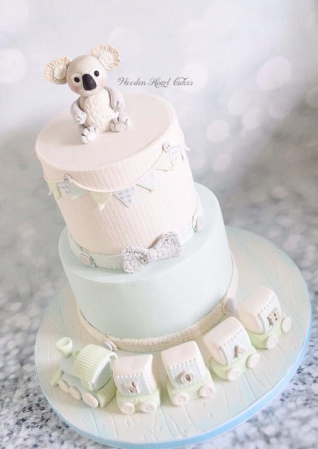 Prime Koala Bear Christening Cake Cake By Wooden Heart Cakes Cakesdecor Funny Birthday Cards Online Hetedamsfinfo