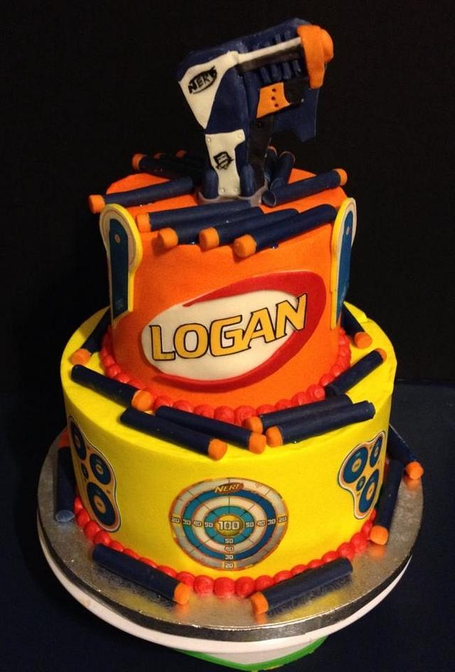 Pleasing Nerf Gun Cake Cake By Tracys Custom Cakery Llc Cakesdecor Personalised Birthday Cards Veneteletsinfo