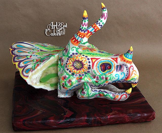 Triceratops Painted Skull, Sugar Skull Bakers '16
