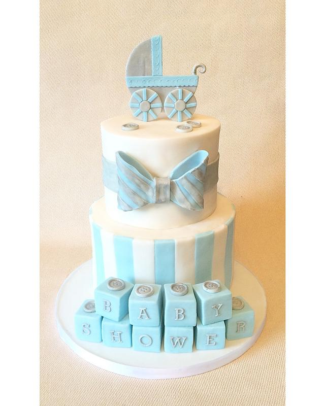 Blue And Silver Baby Shower Cake By Beth Evans Cakesdecor
